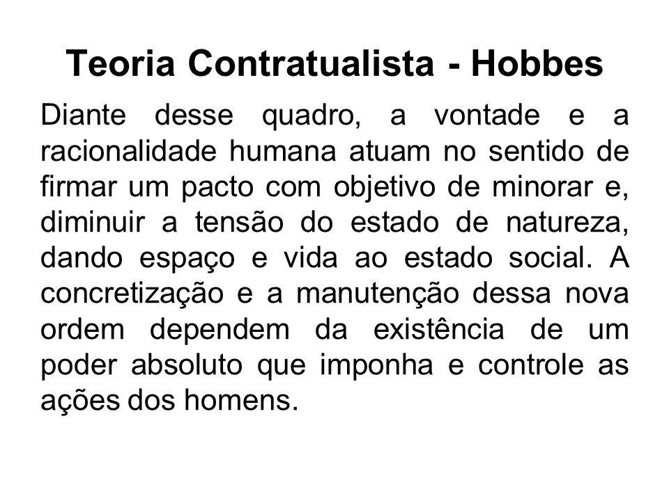 Teoria Contratualista - Hobbes Diante desse quadro, a vontade e a racionalidade humana atuam no sentido de firmar um pacto com objetivo de minorar e,