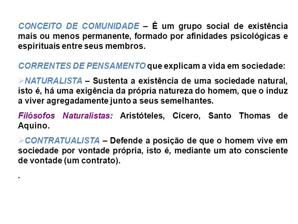 CONCEITO DE COMUNIDADE – É um grupo social de existência mais ou menos permanente, formado por afinidades psicológicas e espirituais entre seus membro