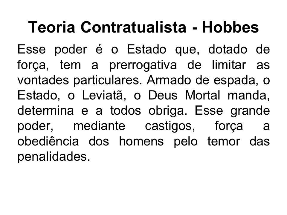 Teoria Contratualista - Hobbes Esse poder é o Estado que, dotado de força, tem a prerrogativa de limitar as vontades particulares. Armado de espada, o