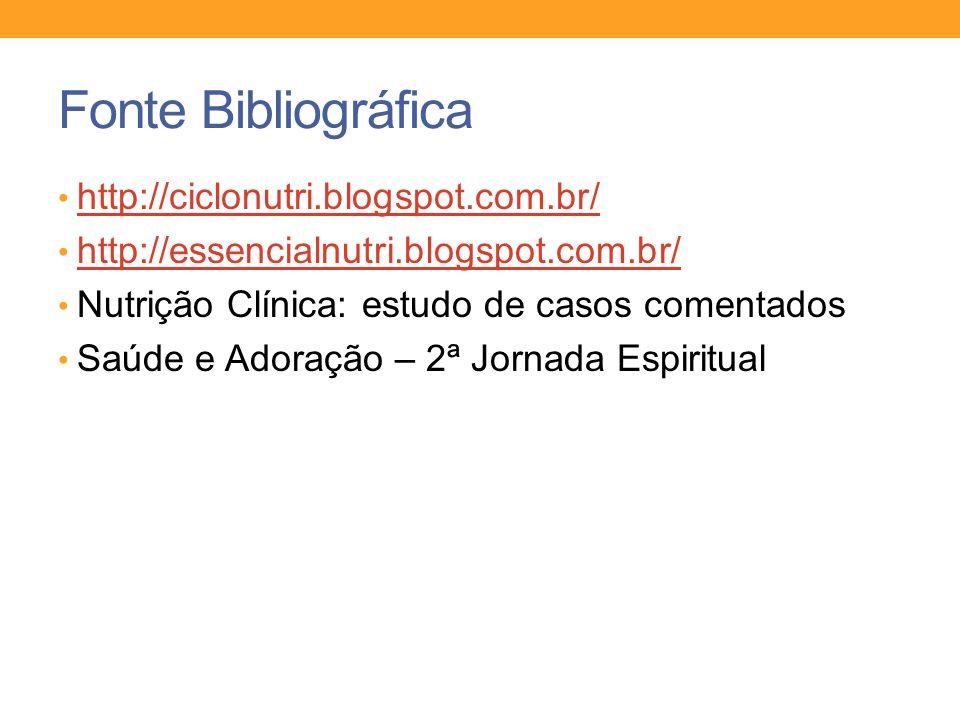Fonte Bibliográfica http://ciclonutri.blogspot.com.br/ http://essencialnutri.blogspot.com.br/ Nutrição Clínica: estudo de casos comentados Saúde e Ado