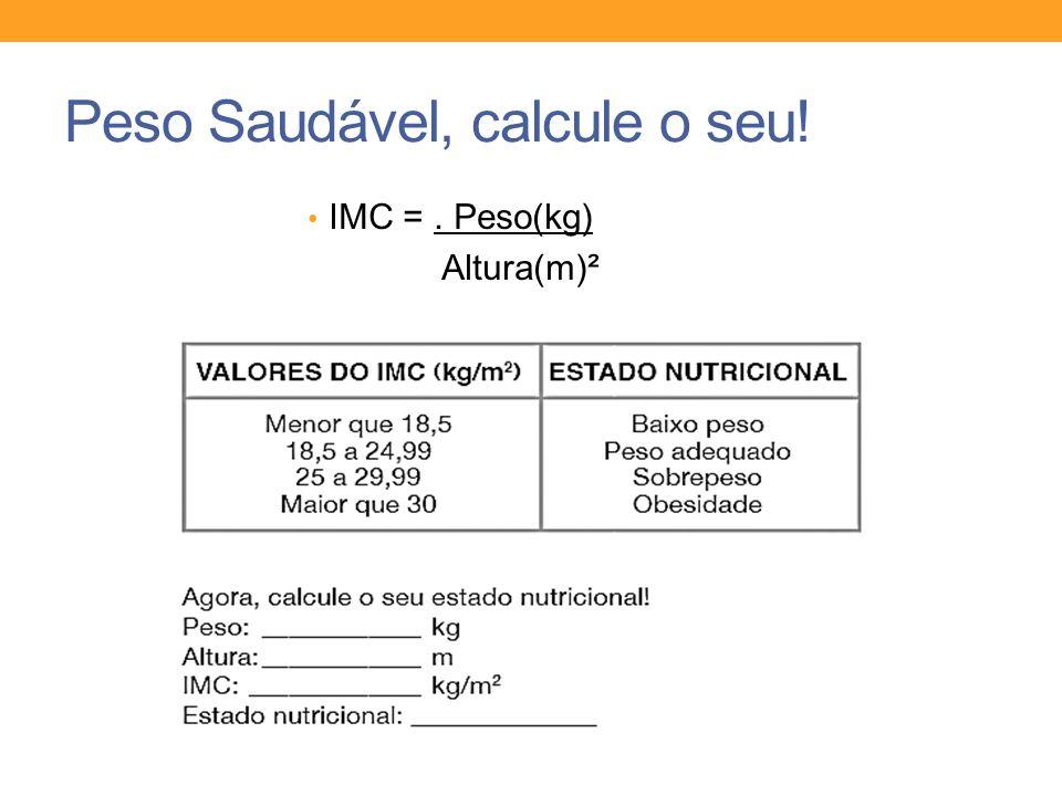 Peso Saudável, calcule o seu! IMC =. Peso(kg) Altura(m)²