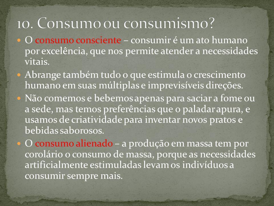 O consumo consciente – consumir é um ato humano por excelência, que nos permite atender a necessidades vitais. Abrange também tudo o que estimula o cr