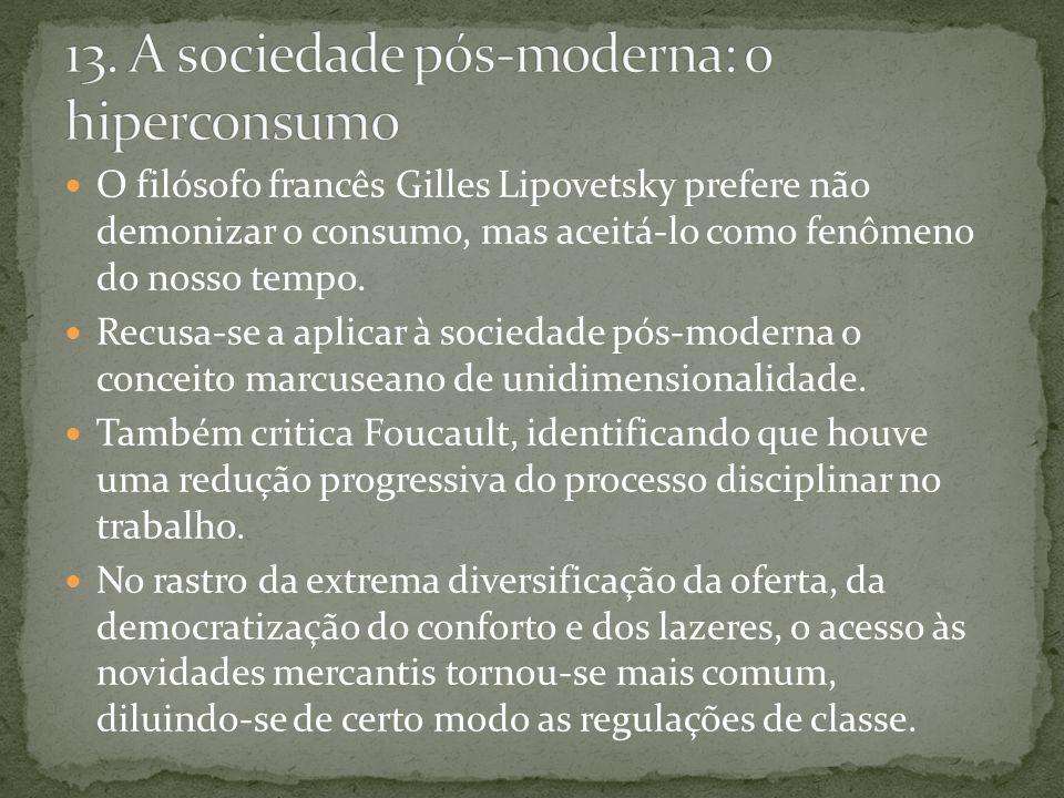 O filósofo francês Gilles Lipovetsky prefere não demonizar o consumo, mas aceitá-lo como fenômeno do nosso tempo. Recusa-se a aplicar à sociedade pós-
