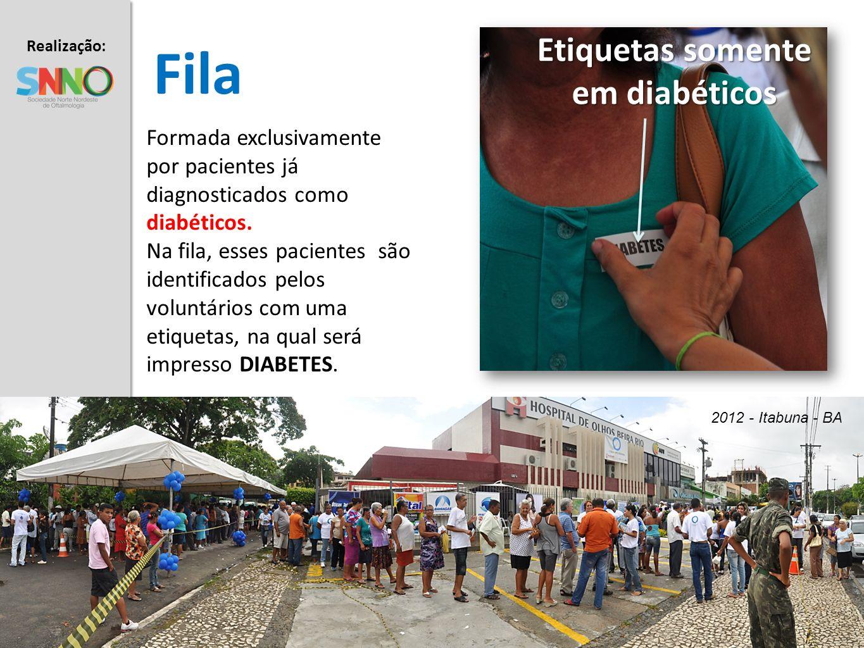 Realização: Apoio: Fila Etiquetas somente em diabéticos Formada exclusivamente por pacientes já diagnosticados como diabéticos. Na fila, esses pacient