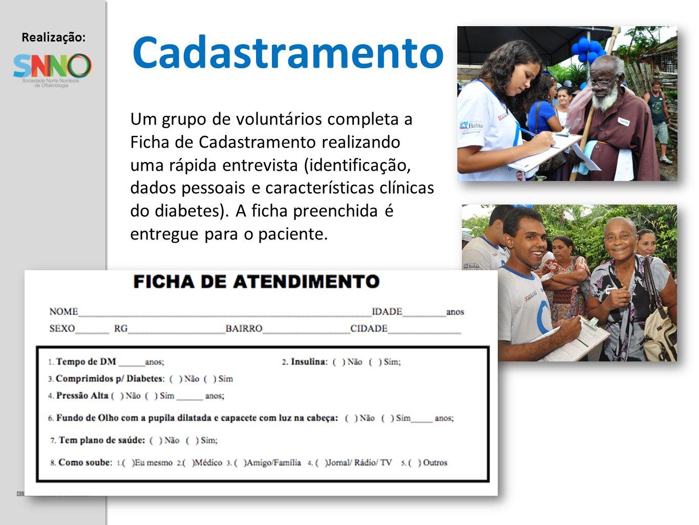 Realização: Apoio: Cadastramento Um grupo de voluntários completa a Ficha de Cadastramento realizando uma rápida entrevista (identificação, dados pess