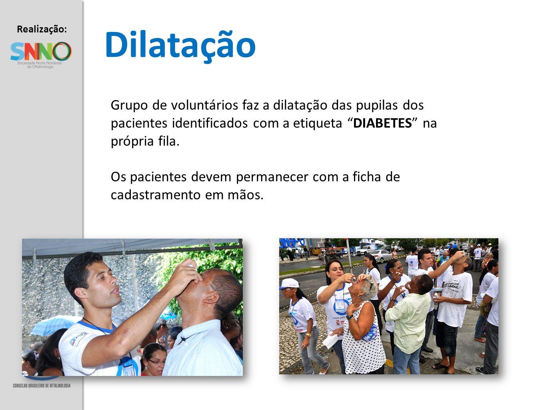 Realização: Apoio: Dilatação Grupo de voluntários faz a dilatação das pupilas dos pacientes identificados com a etiqueta DIABETES na própria fila. Os