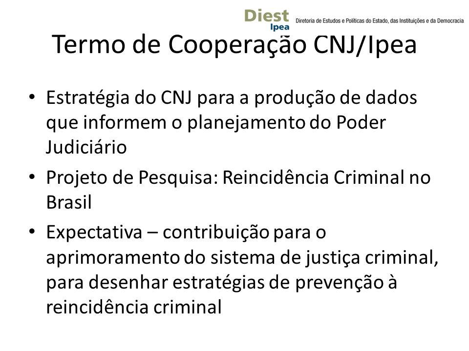 Termo de Cooperação CNJ/Ipea Estratégia do CNJ para a produção de dados que informem o planejamento do Poder Judiciário Projeto de Pesquisa: Reincidência Criminal no Brasil Expectativa – contribuição para o aprimoramento do sistema de justiça criminal, para desenhar estratégias de prevenção à reincidência criminal