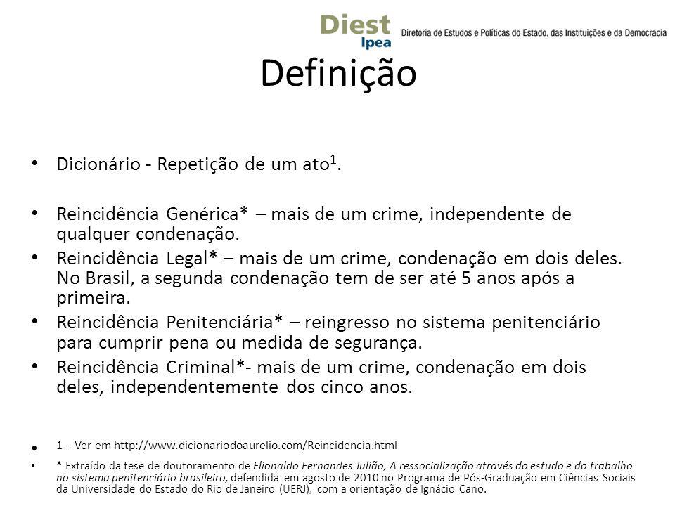 Definição Dicionário - Repetição de um ato 1. Reincidência Genérica* – mais de um crime, independente de qualquer condenação. Reincidência Legal* – ma