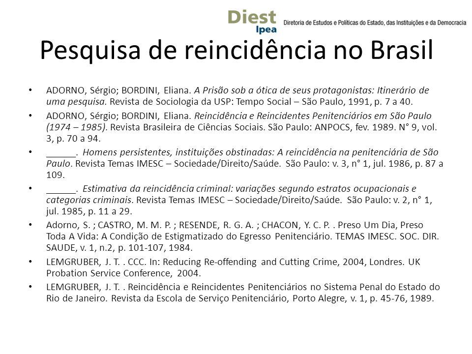 Pesquisa de reincidência no Brasil ADORNO, Sérgio; BORDINI, Eliana.