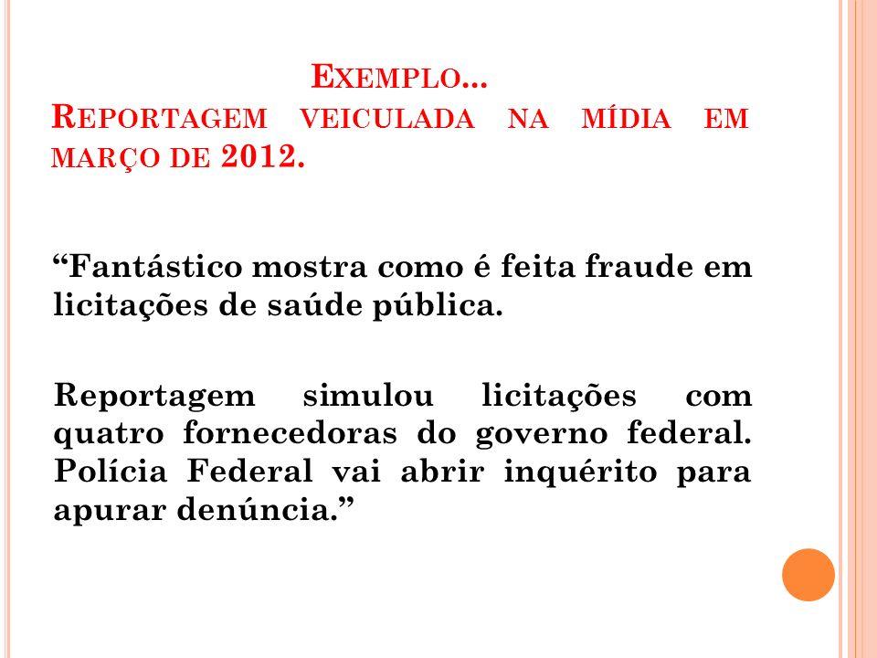 E XEMPLO...R EPORTAGEM VEICULADA NA MÍDIA EM MARÇO DE 2012.
