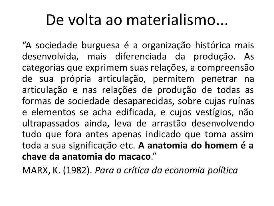 De volta ao materialismo... A sociedade burguesa é a organização histórica mais desenvolvida, mais diferenciada da produção. As categorias que exprime