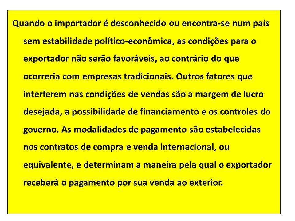 Quando o importador é desconhecido ou encontra-se num país sem estabilidade político-econômica, as condições para o exportador não serão favoráveis, a