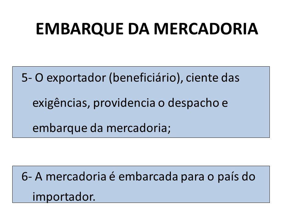 EMBARQUE DA MERCADORIA 5- O exportador (beneficiário), ciente das exigências, providencia o despacho e embarque da mercadoria; 6- A mercadoria é embar