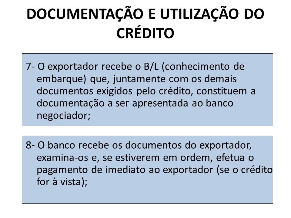 DOCUMENTAÇÃO E UTILIZAÇÃO DO CRÉDITO 7- O exportador recebe o B/L (conhecimento de embarque) que, juntamente com os demais documentos exigidos pelo crédito, constituem a documentação a ser apresentada ao banco negociador; 8- O banco recebe os documentos do exportador, examina-os e, se estiverem em ordem, efetua o pagamento de imediato ao exportador (se o crédito for à vista);