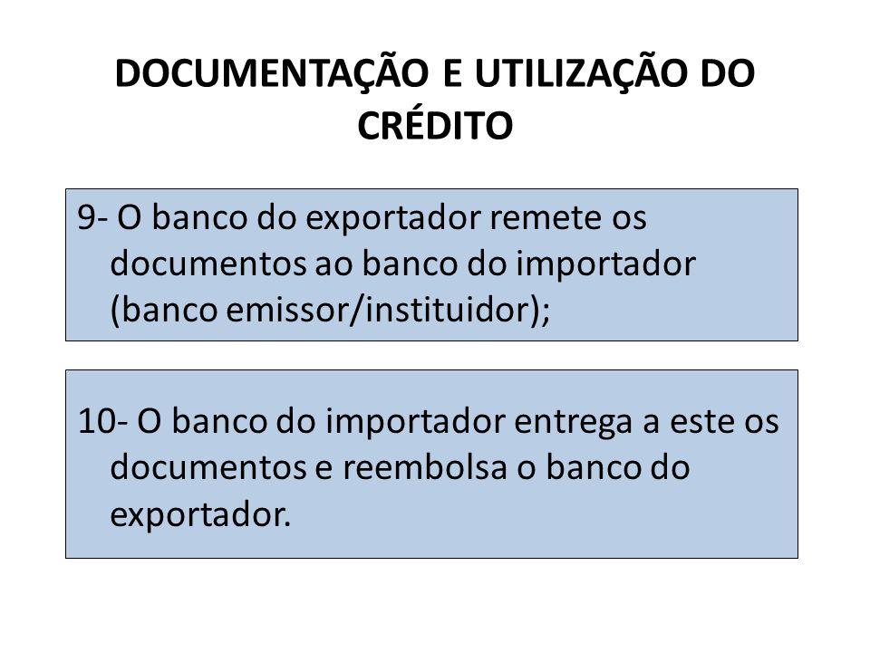 9- O banco do exportador remete os documentos ao banco do importador (banco emissor/instituidor); 10- O banco do importador entrega a este os documentos e reembolsa o banco do exportador.