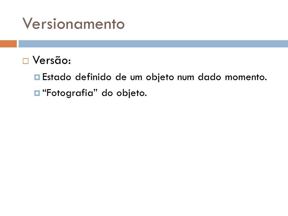 Versionamento Versão: Estado definido de um objeto num dado momento. Fotografia do objeto.