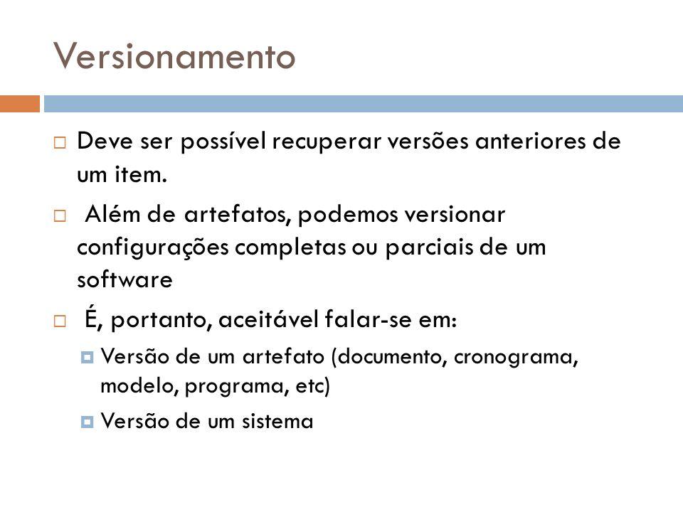 Versionamento Deve ser possível recuperar versões anteriores de um item. Além de artefatos, podemos versionar configurações completas ou parciais de u