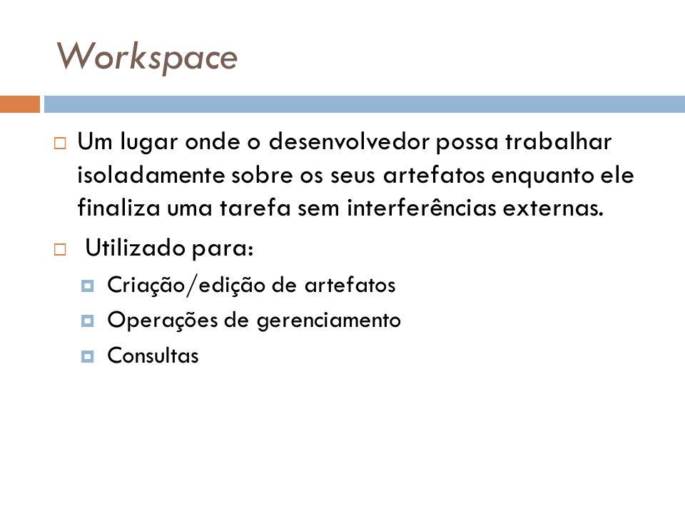 Workspace Um lugar onde o desenvolvedor possa trabalhar isoladamente sobre os seus artefatos enquanto ele finaliza uma tarefa sem interferências exter