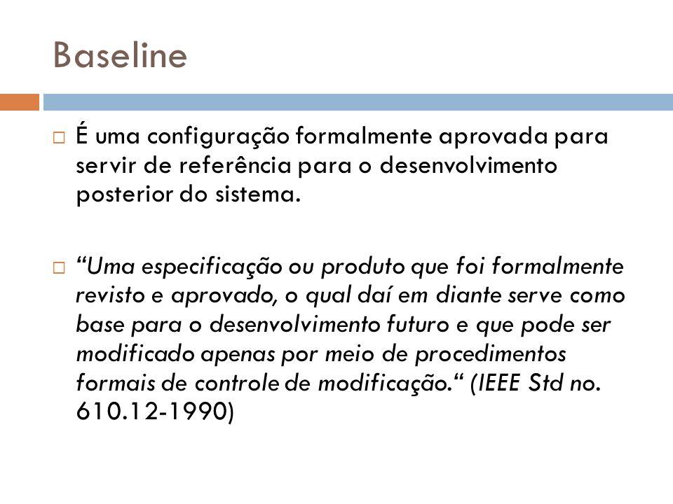 Baseline É uma configuração formalmente aprovada para servir de referência para o desenvolvimento posterior do sistema. Uma especificação ou produto q