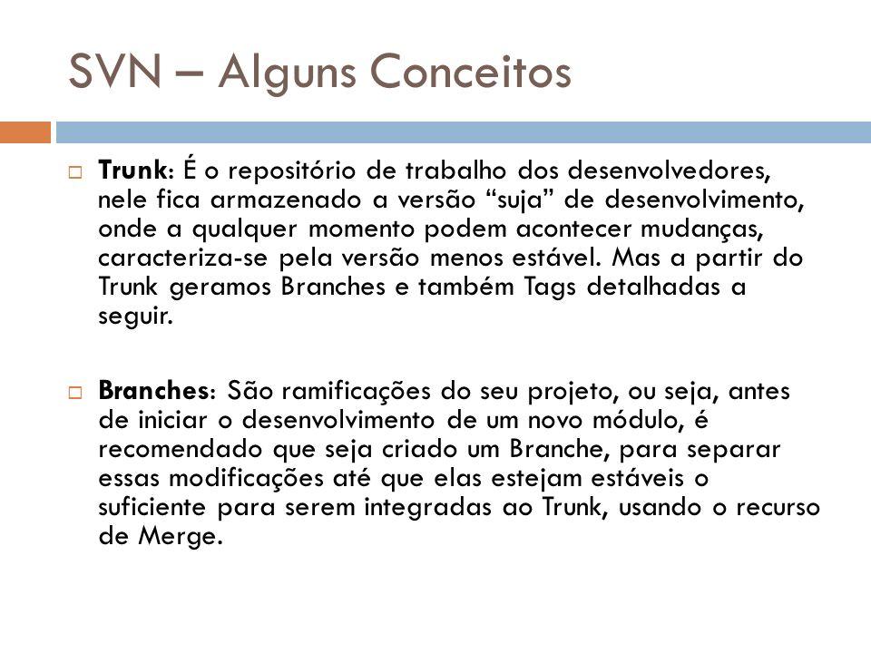 SVN – Alguns Conceitos Trunk: É o repositório de trabalho dos desenvolvedores, nele fica armazenado a versão suja de desenvolvimento, onde a qualquer