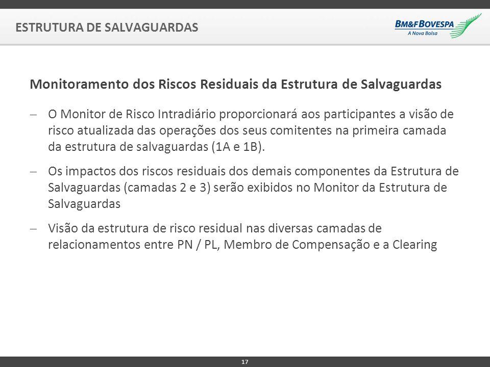 O Monitor de Risco Intradiário proporcionará aos participantes a visão de risco atualizada das operações dos seus comitentes na primeira camada da estrutura de salvaguardas (1A e 1B).