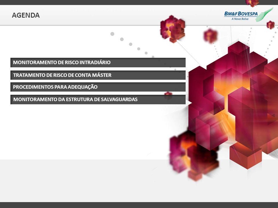 AGENDA MONITORAMENTO DE RISCO INTRADIÁRIO TRATAMENTO DE RISCO DE CONTA MÁSTER MONITORAMENTO DA ESTRUTURA DE SALVAGUARDAS PROCEDIMENTOS PARA ADEQUAÇÃO