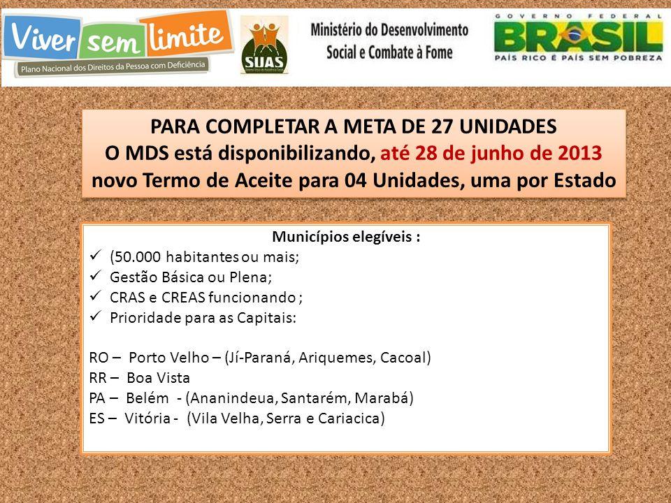 Municípios elegíveis : (50.000 habitantes ou mais; Gestão Básica ou Plena; CRAS e CREAS funcionando ; Prioridade para as Capitais: RO – Porto Velho – (Jí-Paraná, Ariquemes, Cacoal) RR – Boa Vista PA – Belém - (Ananindeua, Santarém, Marabá) ES – Vitória - (Vila Velha, Serra e Cariacica) PARA COMPLETAR A META DE 27 UNIDADES O MDS está disponibilizando, até 28 de junho de 2013 novo Termo de Aceite para 04 Unidades, uma por Estado PARA COMPLETAR A META DE 27 UNIDADES O MDS está disponibilizando, até 28 de junho de 2013 novo Termo de Aceite para 04 Unidades, uma por Estado