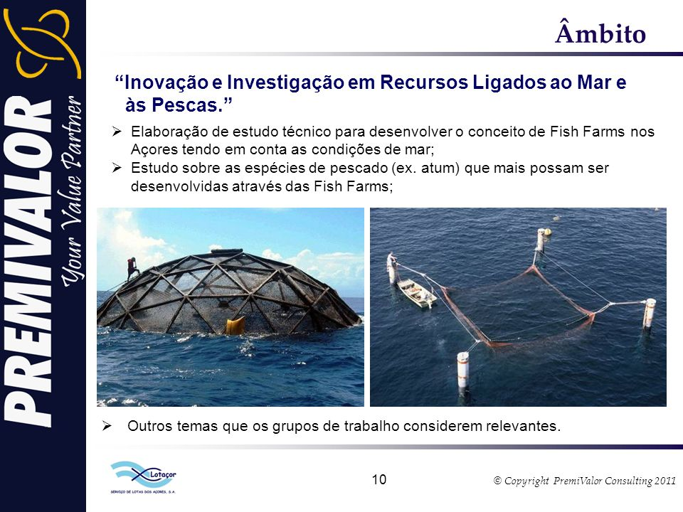 © Copyright PremiValor Consulting 2011 10 Âmbito Inovação e Investigação em Recursos Ligados ao Mar e às Pescas.