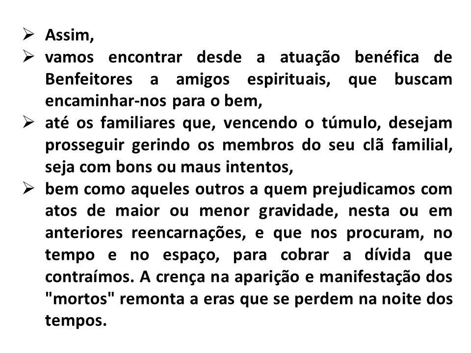Assim, vamos encontrar desde a atuação benéfica de Benfeitores a amigos espirituais, que buscam encaminhar-nos para o bem, até os familiares que, venc