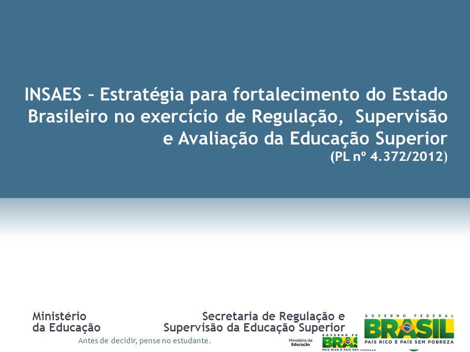 Antes de decidir, pense no estudante. INSAES – Estratégia para fortalecimento do Estado Brasileiro no exercício de Regulação, Supervisão e Avaliação d