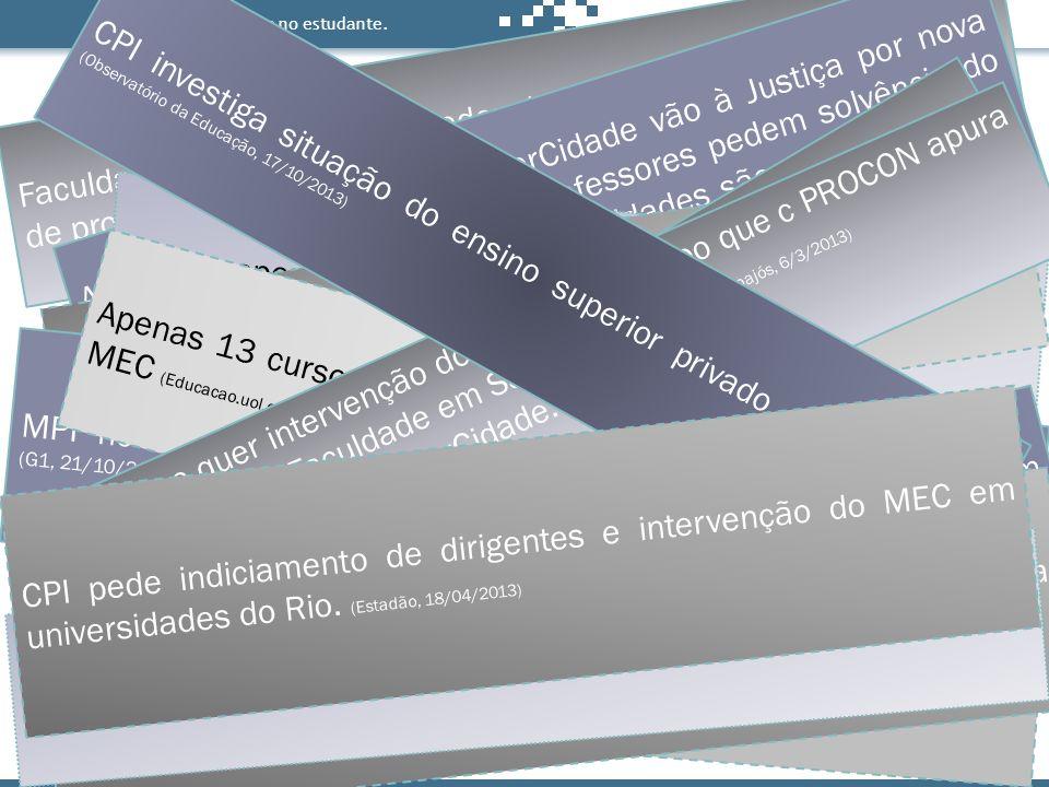 Antes de decidir, pense no estudante. Faculdade Alvorada é descredenciada pelo MEC após denúncias de problemas (Correio Braziliense, 7/9/2013) Alunos