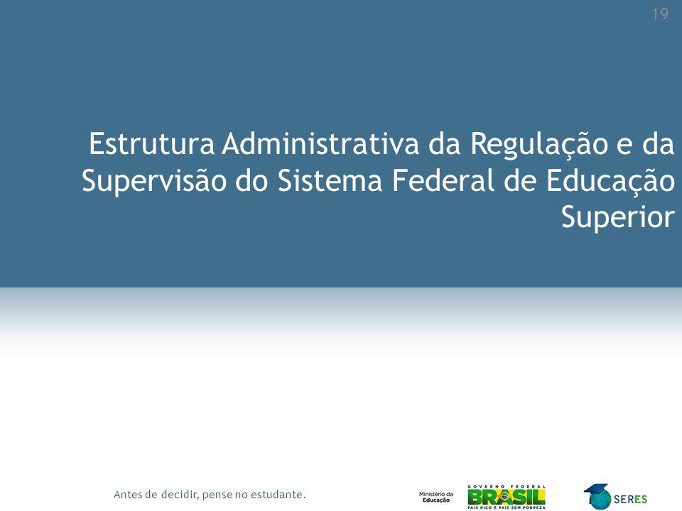 Antes de decidir, pense no estudante. Estrutura Administrativa da Regulação e da Supervisão do Sistema Federal de Educação Superior 19