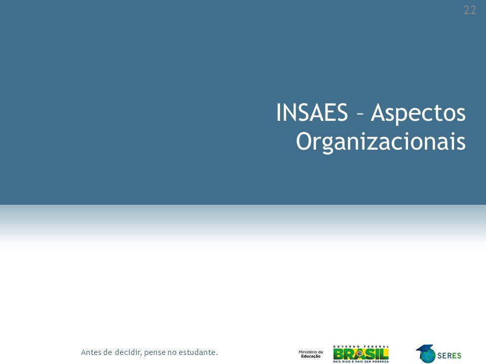 Antes de decidir, pense no estudante. INSAES – Aspectos Organizacionais 22