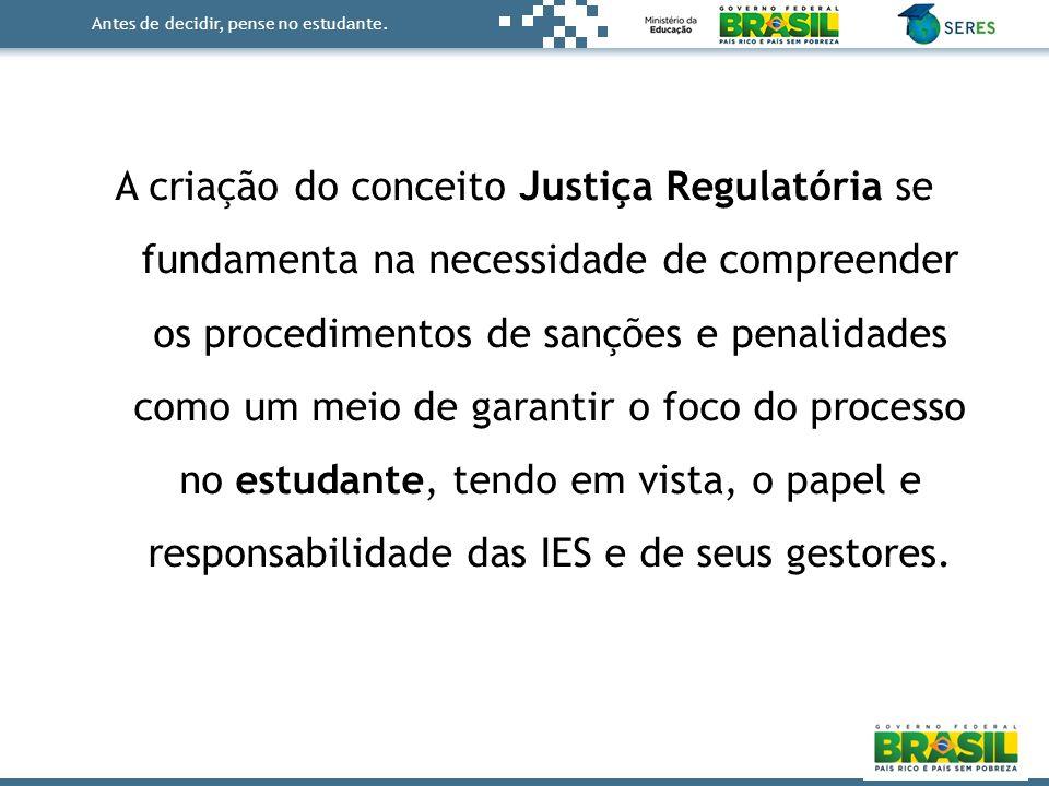Antes de decidir, pense no estudante. A criação do conceito Justiça Regulatória se fundamenta na necessidade de compreender os procedimentos de sançõe