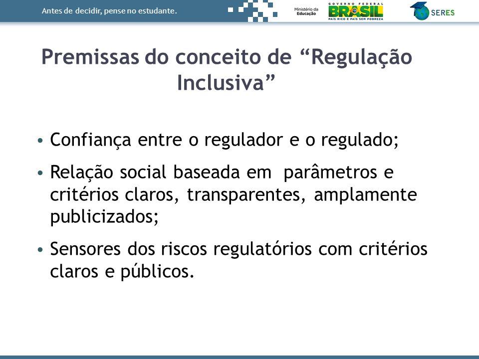 Antes de decidir, pense no estudante. Confiança entre o regulador e o regulado; Relação social baseada em parâmetros e critérios claros, transparentes