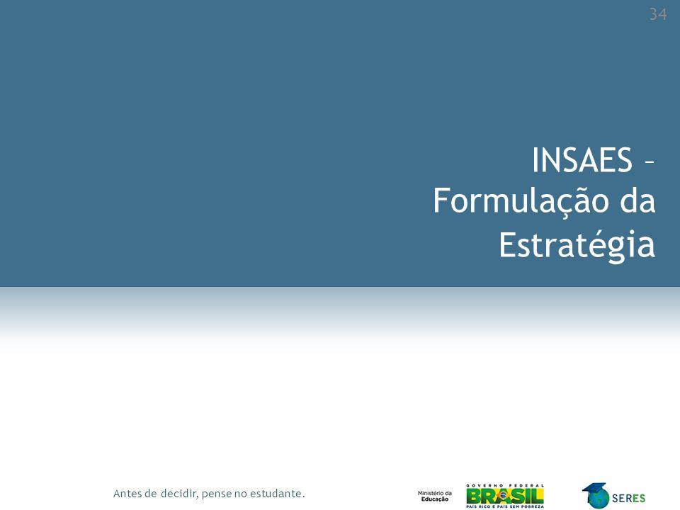 Antes de decidir, pense no estudante. INSAES – Formulação da Estraté gia 34