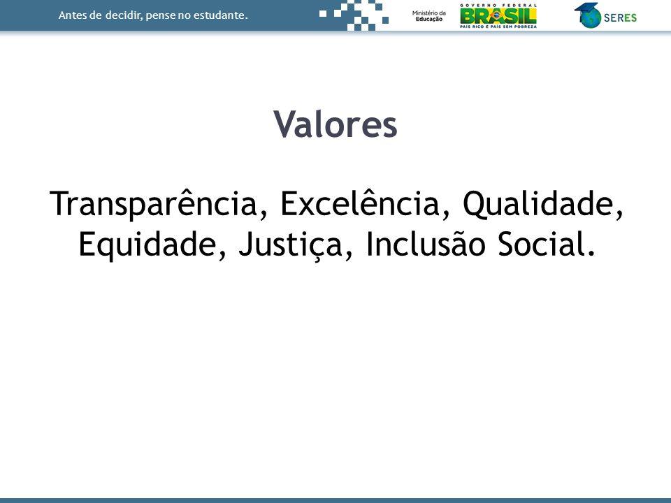 Antes de decidir, pense no estudante. Transparência, Excelência, Qualidade, Equidade, Justiça, Inclusão Social. Valores