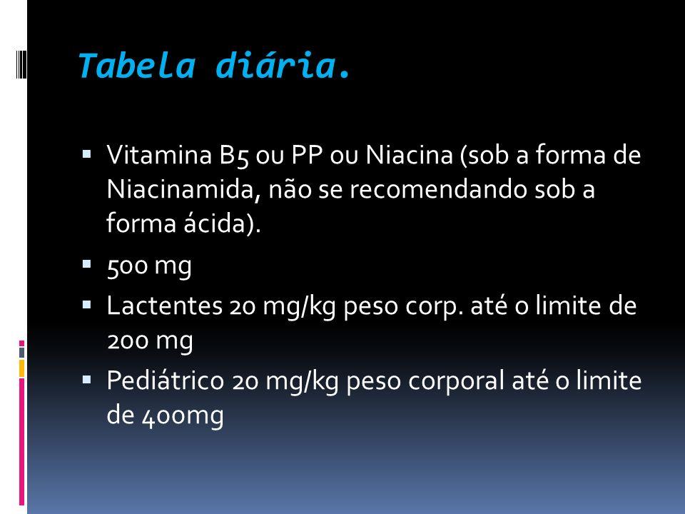 Tabela diária. Vitamina B5 ou PP ou Niacina (sob a forma de Niacinamida, não se recomendando sob a forma ácida). 500 mg Lactentes 20 mg/kg peso corp.