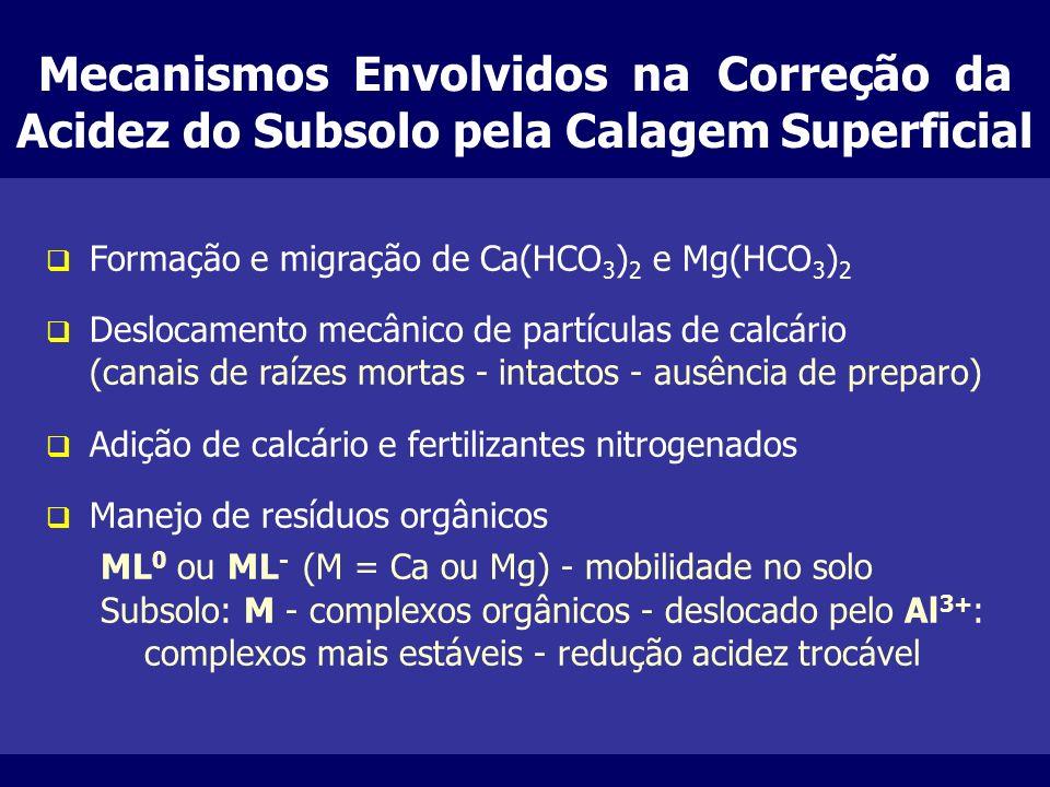 Mecanismos Envolvidos na Correção da Acidez do Subsolo pela Calagem Superficial q Formação e migração de Ca(HCO 3 ) 2 e Mg(HCO 3 ) 2 q Deslocamento me