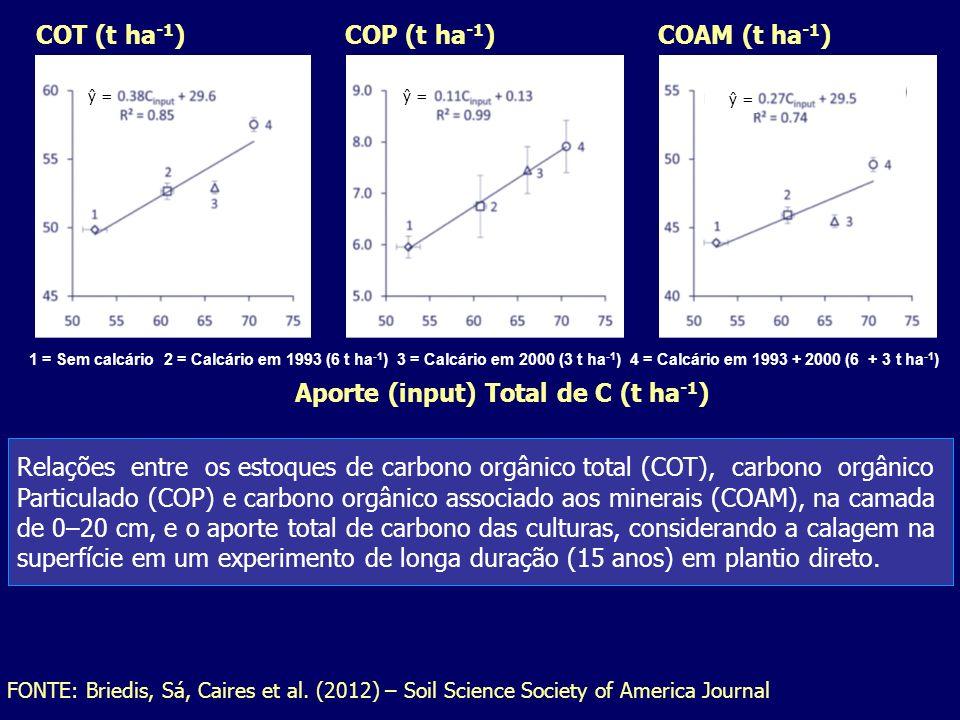 COP (t ha -1 ) COAM (t ha -1 ) COT (t ha -1 ) ŷ = Aporte (input) Total de C (t ha -1 ) 1 = Sem calcário 2 = Calcário em 1993 (6 t ha -1 ) 3 = Calcário