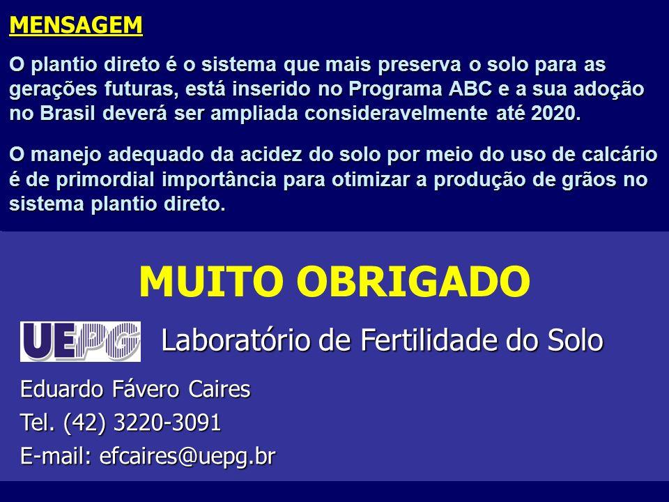 MENSAGEM O plantio direto é o sistema que mais preserva o solo para as gerações futuras, está inserido no Programa ABC e a sua adoção no Brasil deverá