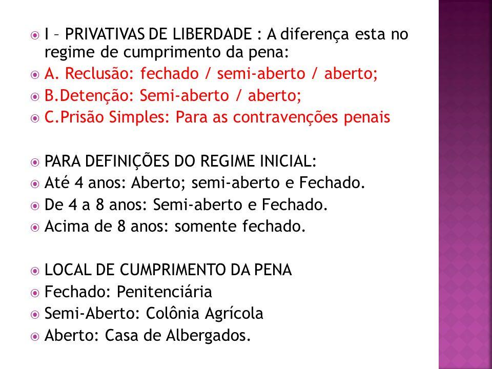 I – PRIVATIVAS DE LIBERDADE : A diferença esta no regime de cumprimento da pena: A. Reclusão: fechado / semi-aberto / aberto; B.Detenção: Semi-aberto