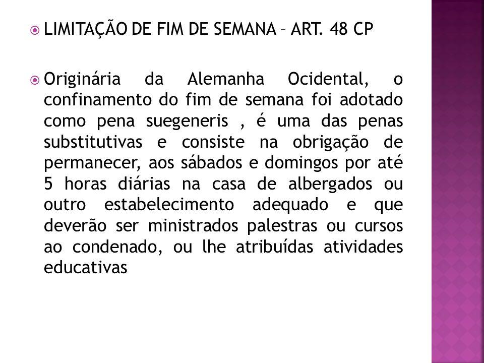 LIMITAÇÃO DE FIM DE SEMANA – ART. 48 CP Originária da Alemanha Ocidental, o confinamento do fim de semana foi adotado como pena suegeneris, é uma das