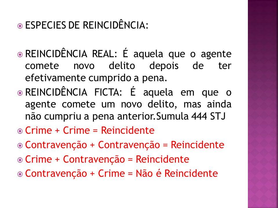 ESPECIES DE REINCIDÊNCIA: REINCIDÊNCIA REAL: É aquela que o agente comete novo delito depois de ter efetivamente cumprido a pena. REINCIDÊNCIA FICTA: