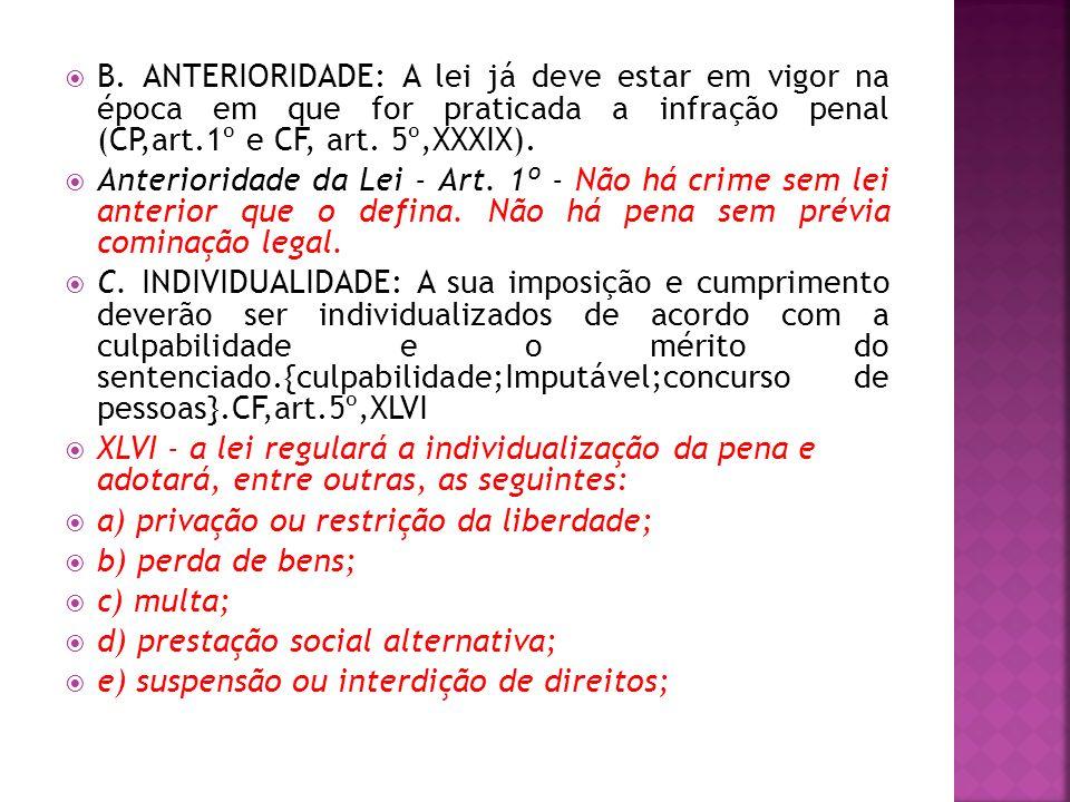 B. ANTERIORIDADE: A lei já deve estar em vigor na época em que for praticada a infração penal (CP,art.1º e CF, art. 5º,XXXIX). Anterioridade da Lei -