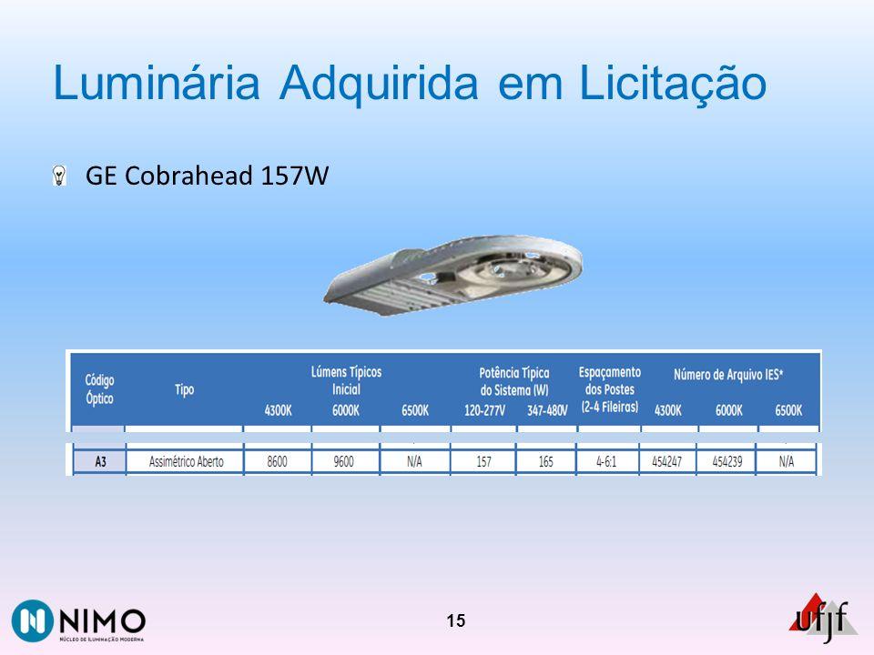 Luminária Adquirida em Licitação GE Cobrahead 157W 15