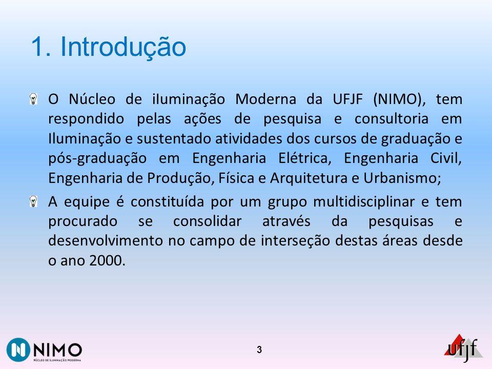 1. Introdução O Núcleo de iIuminação Moderna da UFJF (NIMO), tem respondido pelas ações de pesquisa e consultoria em Iluminação e sustentado atividade