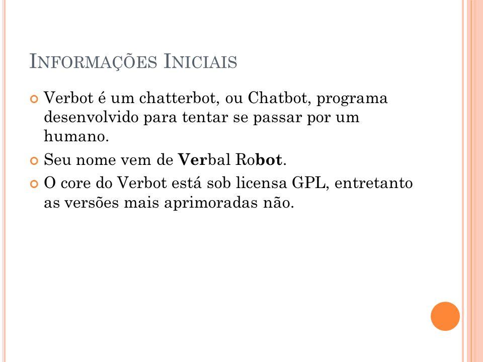 I NFORMAÇÕES I NICIAIS Verbot é um chatterbot, ou Chatbot, programa desenvolvido para tentar se passar por um humano.