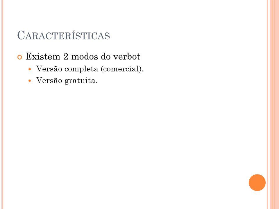 C ARACTERÍSTICAS Existem 2 modos do verbot Versão completa (comercial). Versão gratuita.