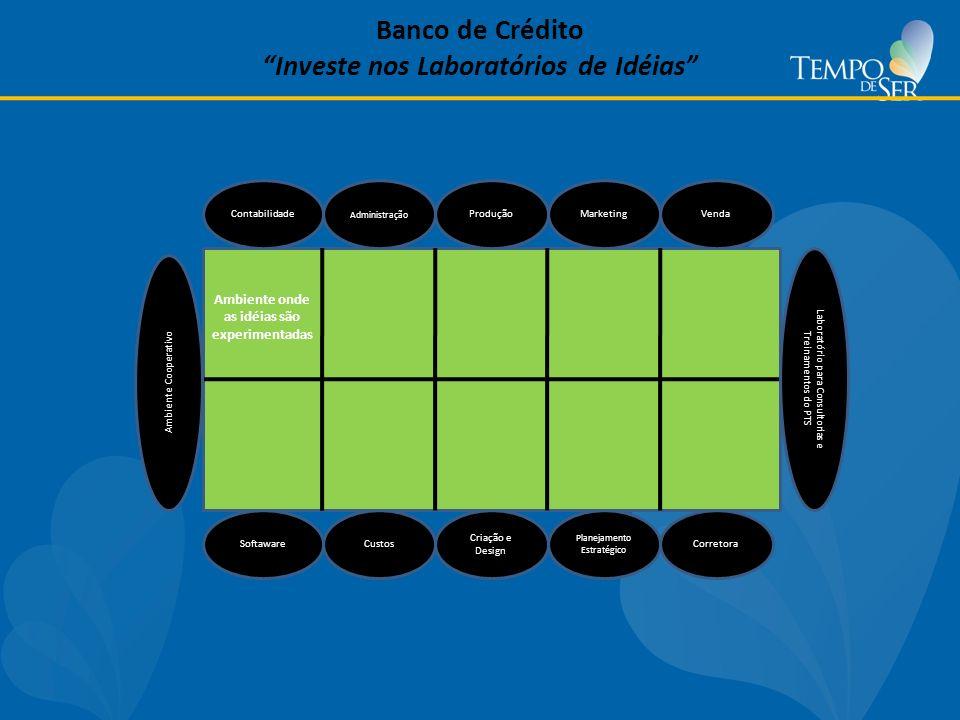 Contabilidade Administração ProduçãoMarketingVenda SoftawareCustos Criação e Design Planejamento Estratégico Corretora Banco de Crédito Investe nos Laboratórios de Idéias Ambiente Cooperativo Laboratório para Consultorias e Treinamentos do PTS Ambiente onde as idéias são experimentadas